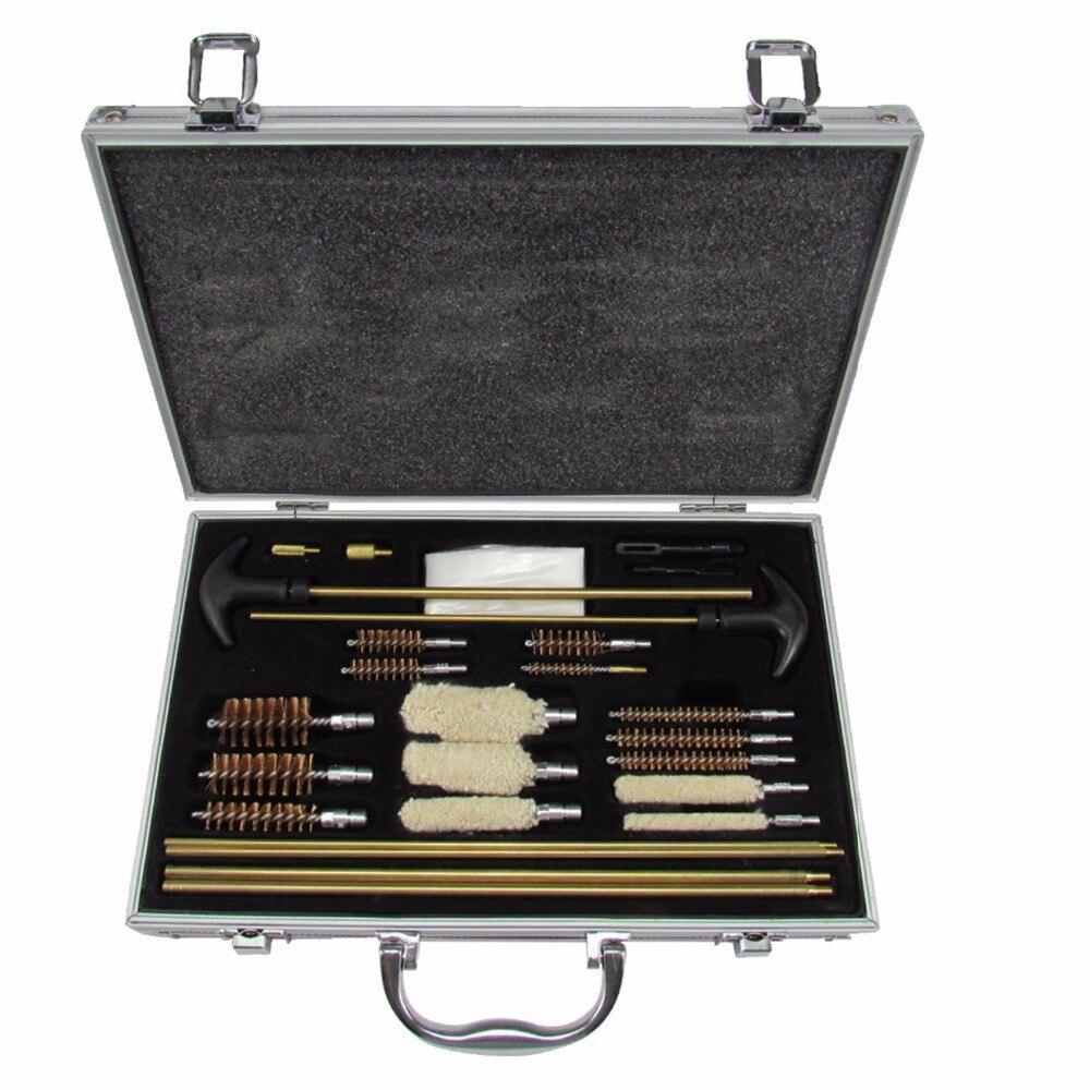 Kit de limpieza todo en uno de pistola Universal de aluminio Tourbon Estuche de transporte para el equipo de caza de tiro de Rifle y escopeta Airsoft