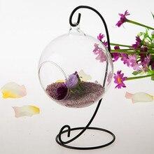 Candelero romántico de hierro, candelabro de Metal para boda, candelabro de bola de cristal con cabina, soporte colgante con Micro paisaje, decoración marroquí