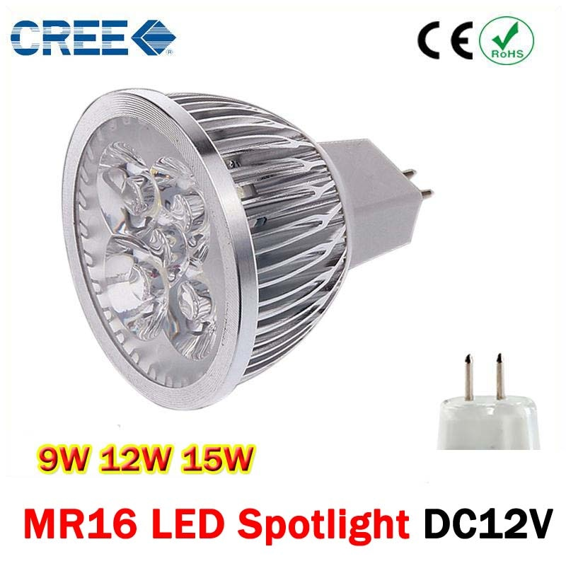 1 шт., высокомощная Светодиодная лампа Dimmalbe gu5,3 MR16 9 Вт 12 Вт 15 Вт GU 5,3, Светодиодная лампа 12 В, COB, точечная лампа
