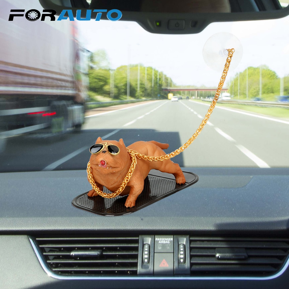 Car Ornament Car Styling Cool Fierce Dog Auto Interior Accessories Dashboard Decoration Creative Dog Doll Smoking Dog Resin