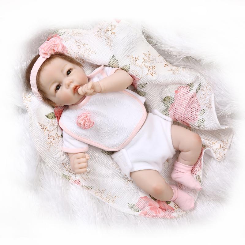 Nicery 19 pulgadas 43-48cm Bebe muñeca Reborn silicona suave niño niña juguete Reborn muñeco para regalar para niños regalo flores rosadas encantadoras
