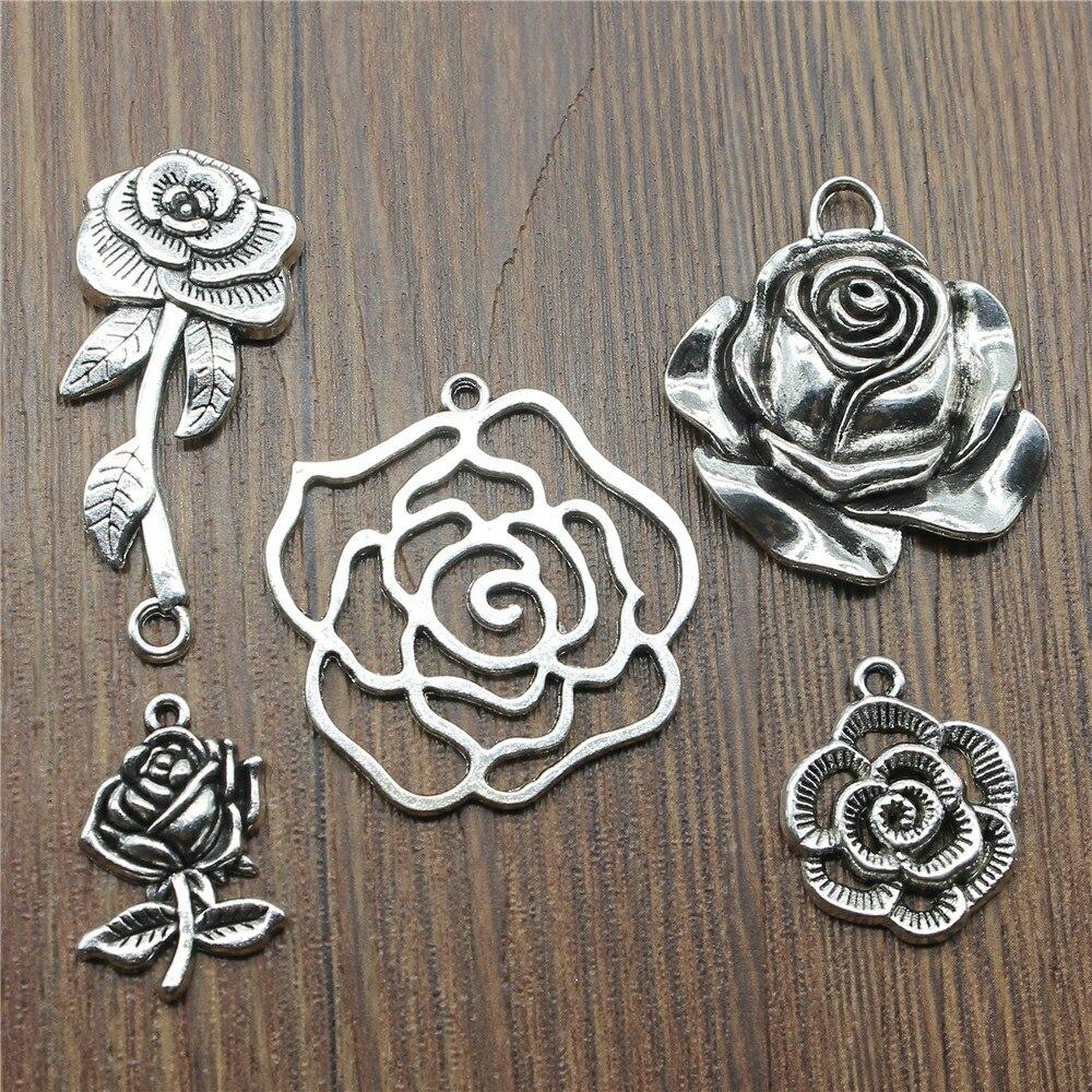 10pcs / lot Charms Rose Antik Silber Farbe Rose Flower Charms Anhänger für Armbänder Flower Rose Charms Großhandel