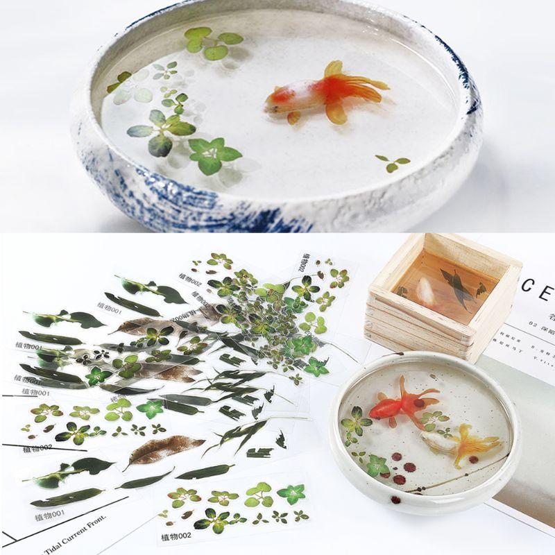 5 Pcs 3D Blätter Klar Wasser Gras Film Aufkleber Für Harz Goldfisch Malerei Schmuck