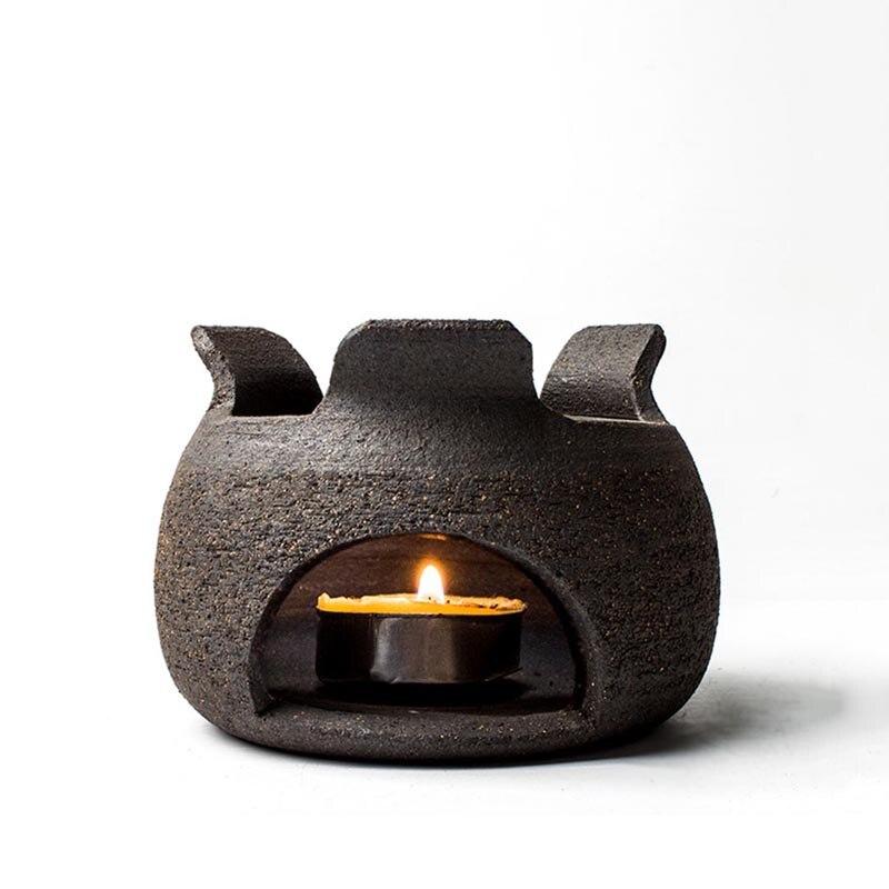 اليدوية الرجعية الخشنة الفخار الشاي موقد شمعة التدفئة أدفأ قاعدة إبريق شاي من السيراميك حامل إبريق Trivets حفل الشاي الملحقات