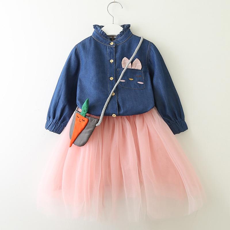 Ropa vaquera azul con cuello alto para niña, blusas con diseño de gato de dibujos animados + faldas con capas de encaje, conjuntos de ropa informal de manga larga