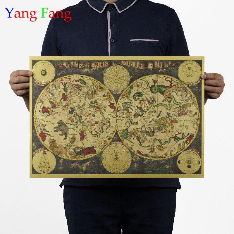 1680 alte zodiac konstellation karte kraft papier poster retro dekorative malerei 51x35cm Vintage gruß karte