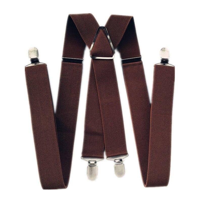 Tirantes BD054-4 para hombre, de 47 a 55 pulgadas, con correa elástica ajustable, Color café o marrón, pantalones X espalda, tirantes con pinzas para mujer