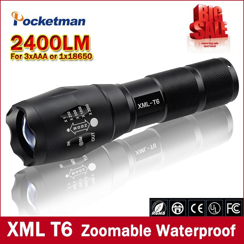 Gran promoción linterna LED XML T6 Ultra brillante 5 modos 2400 lúmenes linterna LED con zoom envío gratis