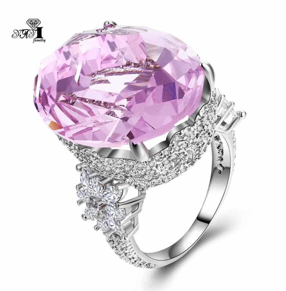 Yayi jóias moda princesa corte 18*22mm enorme 16 ct rosa zircão cor prata anéis de noivado anéis de casamento anéis de festa