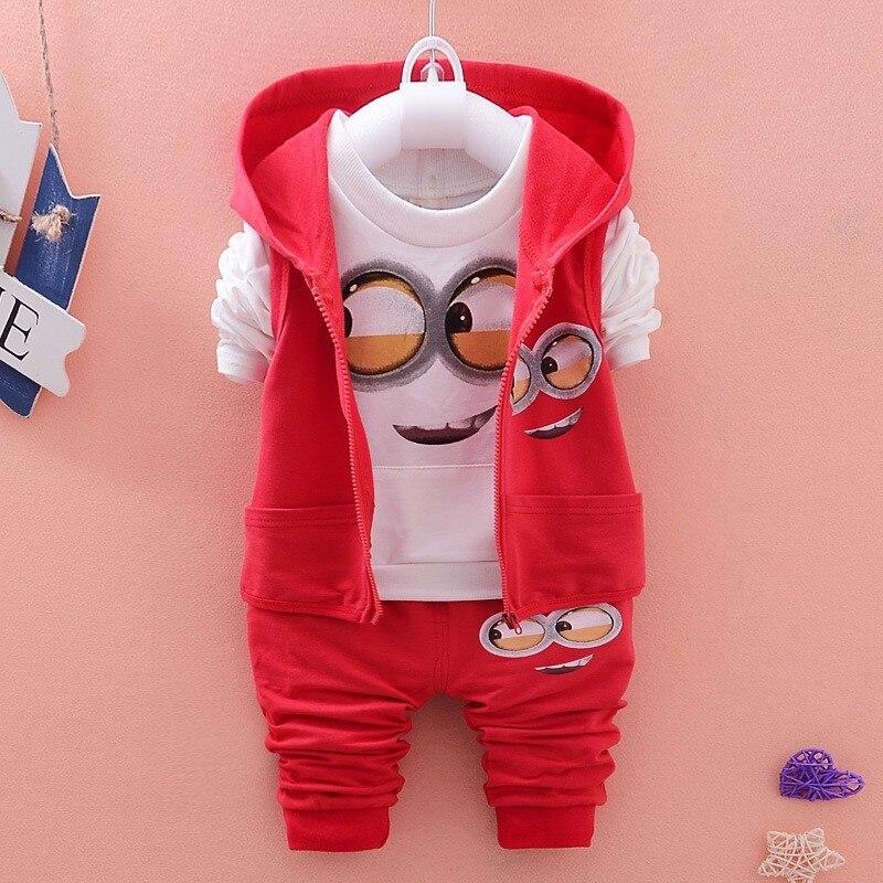 Conjunto de ropa para niños de dibujos animados Minions, chaqueta con capucha para niños, camisas, pantalones, traje para bebés, ropa para niños, chándal para bebés