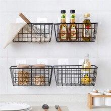 Panier de rangement rectangulaire, accessoires de cuisine, salle de bain, organisateur, boîte de rangement, support mural suspendu XNC