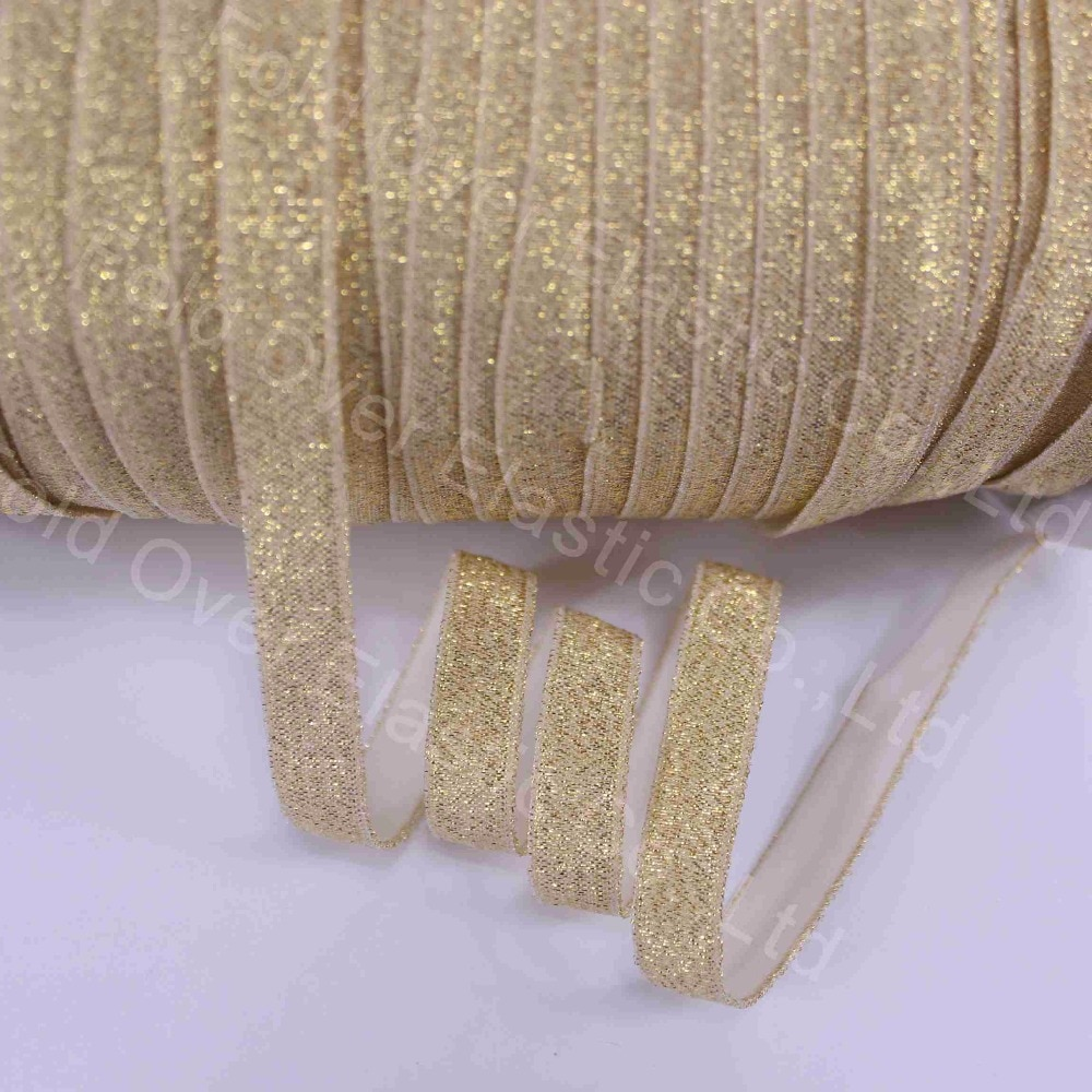"3/8"" gold glitter fold over elastic thread foe elastic for hair tie, 100yards/roll"