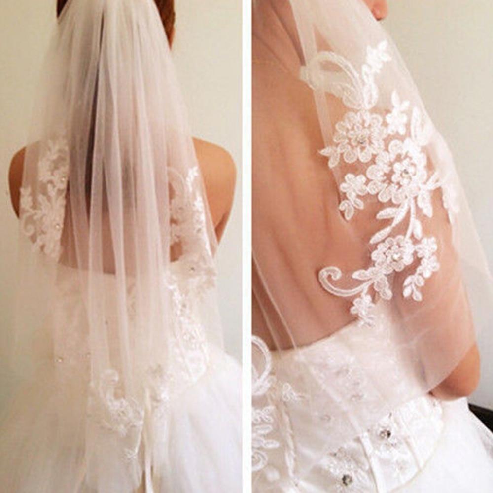 1T blanco apliques para vestido de novia Rhinestone velo de novia con peine boda mujeres elegantes diademas de una capa de bordado Floral