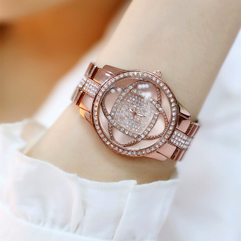 Best Selling Digital-free Rhinestone Dial with Metal Strap Brown Flower Female Watch Fashion Casual Chronograph enlarge