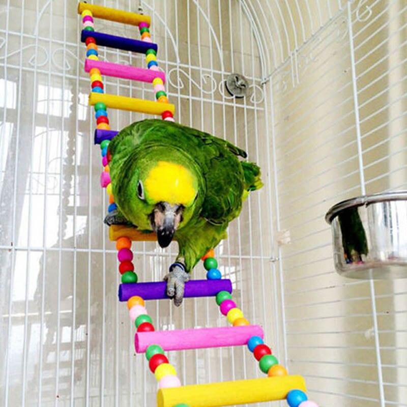 Juguete colgante de jaula para pájaros, puente oscilante de madera, escalera de escalada para loro, ideal para Conures Cockatiel Budgie XH8Z ST13