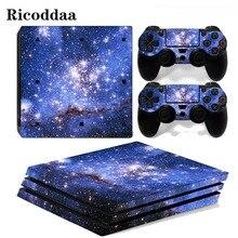 Ciel étoiles pour PS4 Pro autocollant couverture enveloppe Console et 2 pièces contrôleur peau décalcomanie pour Sony Playstation 4 Pro accessoires de jeu