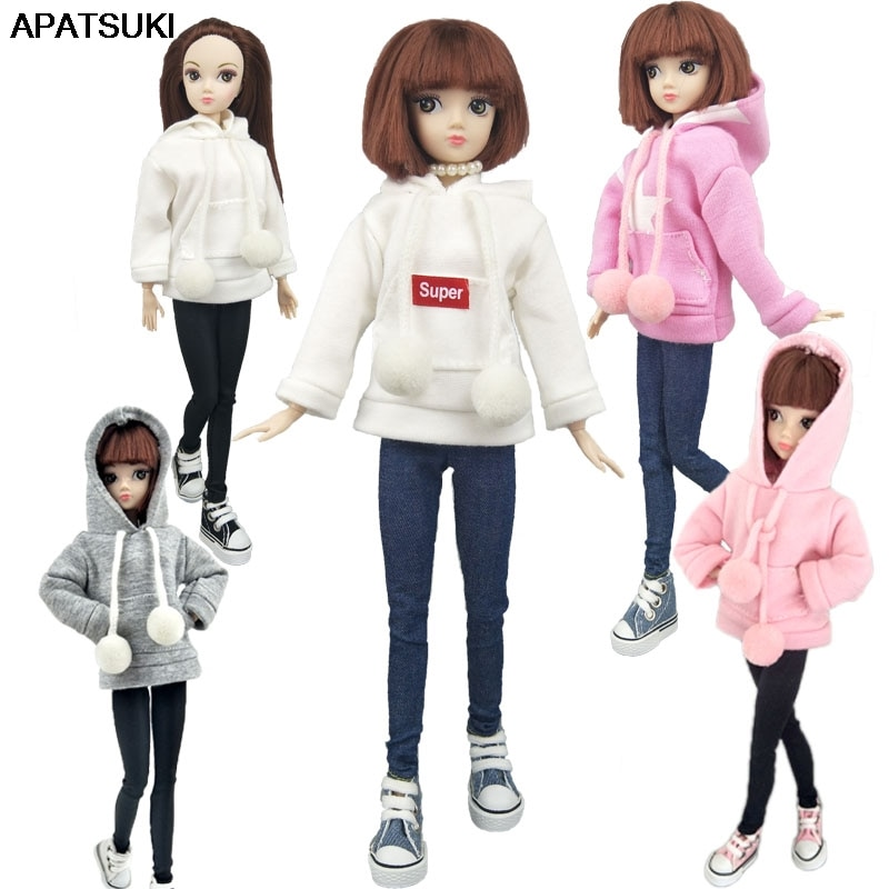 Fashion Doll Clothes Sweatshirt Coat For Barbie Doll Clothes For Barbie Doll Outfits Pants Canvas Shoes 1/6 Dolls Accessories 5 sets fashion casual wear doll clothes tops t shirt jacket pants outfits accessories for barbie boy friend ken dolls cloth toys
