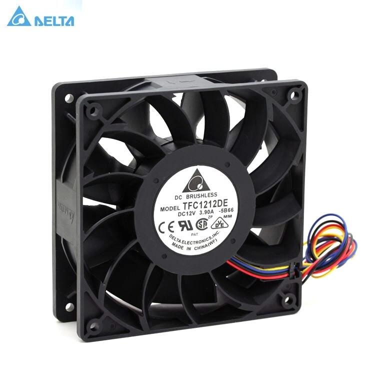 Tfc1212de para delta 120mm dc 12 v 5200 rpm 252cfm para bitcoin mineiro poderoso servidor caso ventilador de refrigeração axial