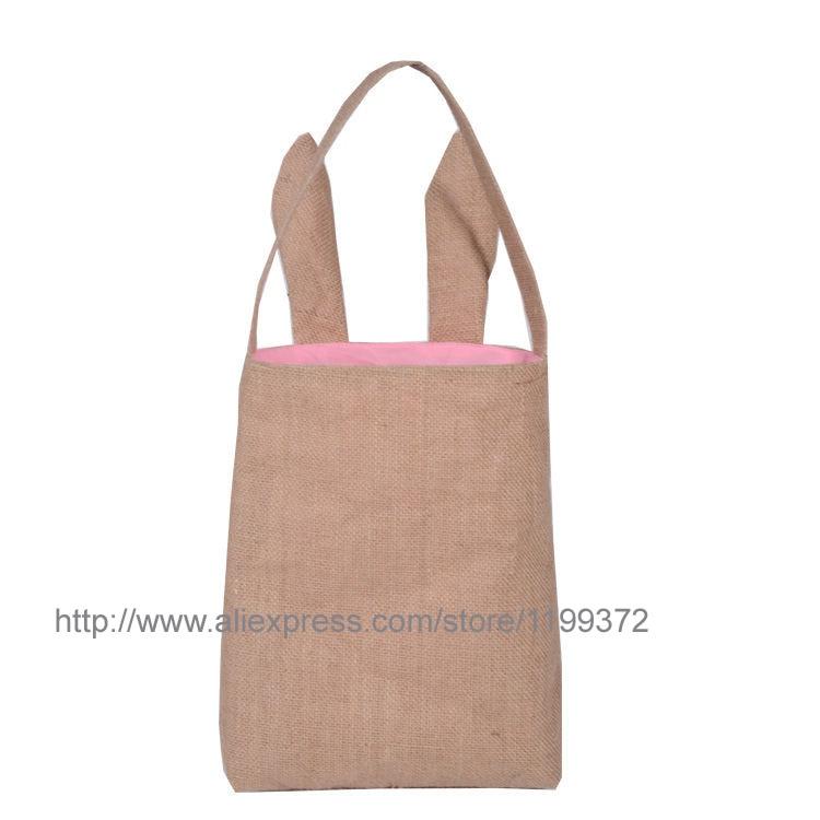 20 piezas algodón forrado de lino lienzo de Pascua bolsa de regalo conejo oreja bolsa de compras bolsa de Orejas de conejo bolsa de bebé niños