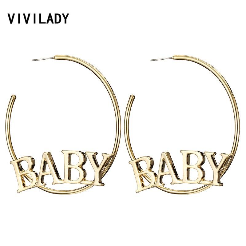 VIVILADY de bebé grandes pendientes de aro de oro para mujer Color plata bohemio de playa verano carta círculo redondo Bijoux joyería regalos de fiesta