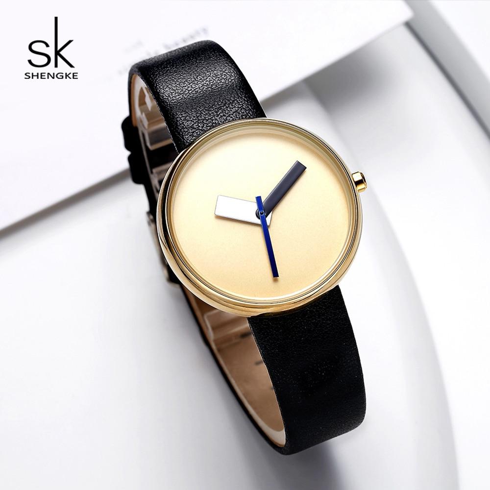 Shengke Creative Quartz Watches Women Simple Fashion Wrist Watch Montre Femme 2019 SK Women Casual Leather Watches #K0086