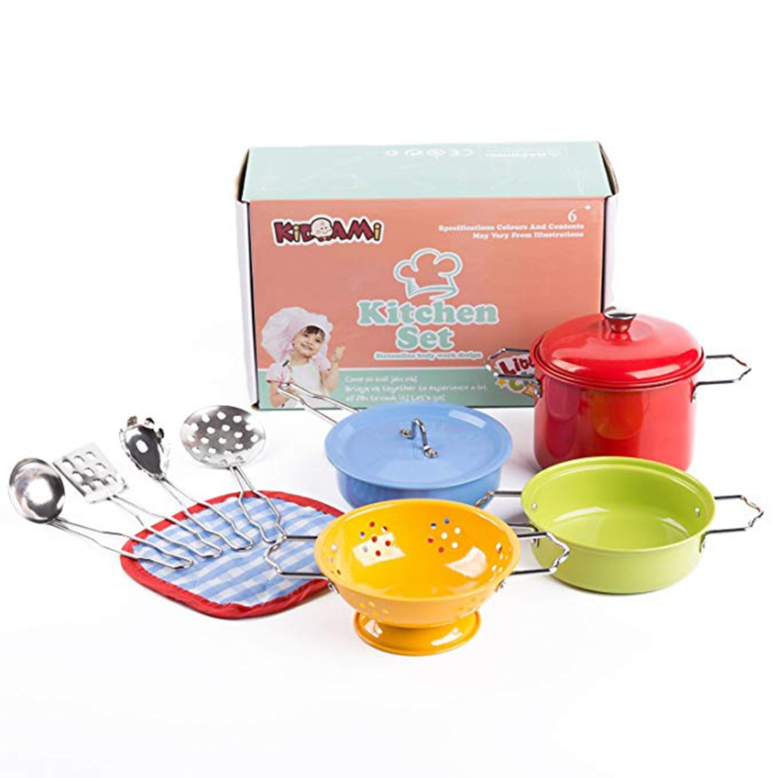 11pcs kids pretend play house kitchen toys set stainless steel cooking pots pretend cook play toy simulation kitchen cooking toy 11Pcs Colorful Kitchen Toy Set Utensils Cooking Pots Pans Food Dishes mini simulation Kids Cookware pretend play Toys