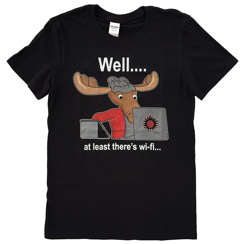 Nani vestir sobrenatural sam winchester moose wifi geek camiseta diferentes cores de alta qualidade 100% t camisa superior t plus size
