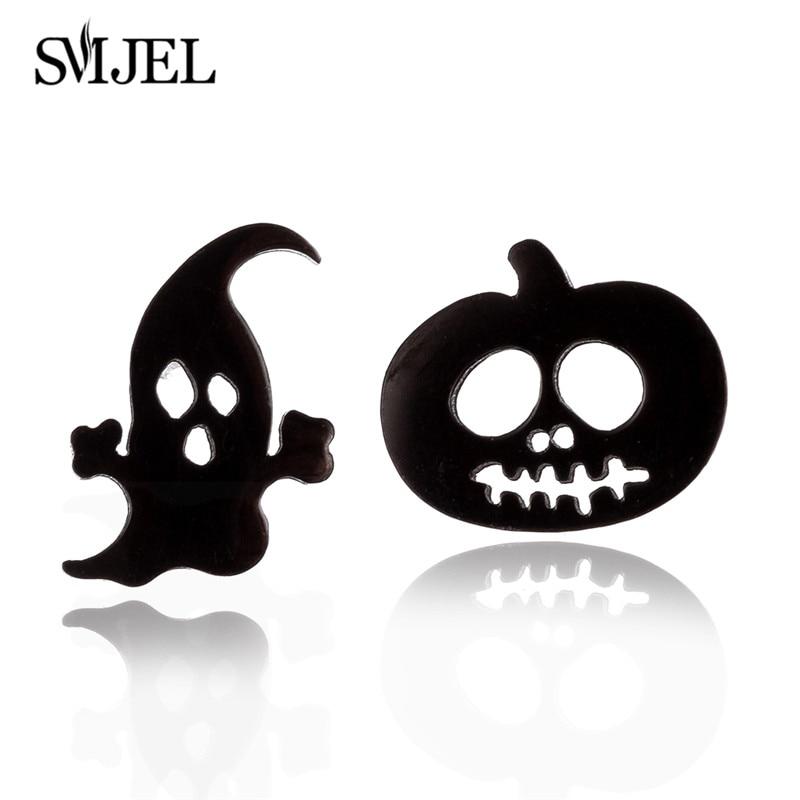 SMJEL Punk Halloween pendientes con diseño de calabazas para mujeres pendientes de acero inoxidable negro pequeño fantasma Stud pendientes Piercing Bijoux