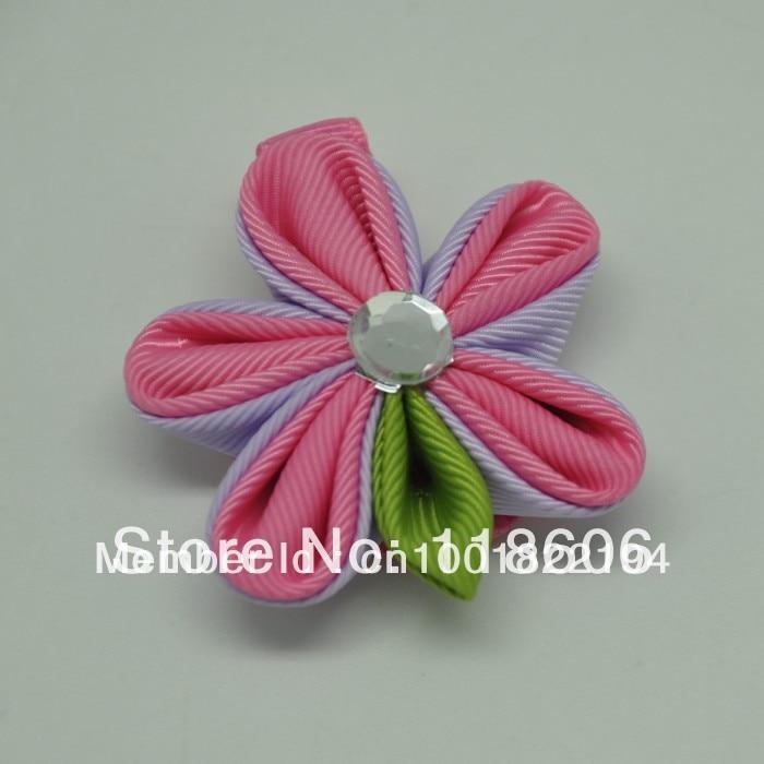 Free Shipping 60pcs Fashion Kid's Fashion BB Clip Hair Bows  Kanzashi Petals Ribbon Barrettes