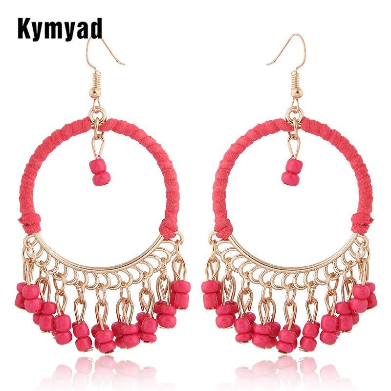 Pendientes de cuentas étnicas Vintage Kymyad para mujer, pendientes grandes de borla hechos a mano, pendientes largos bohemios grandes Brincos, pendientes Oorbellen