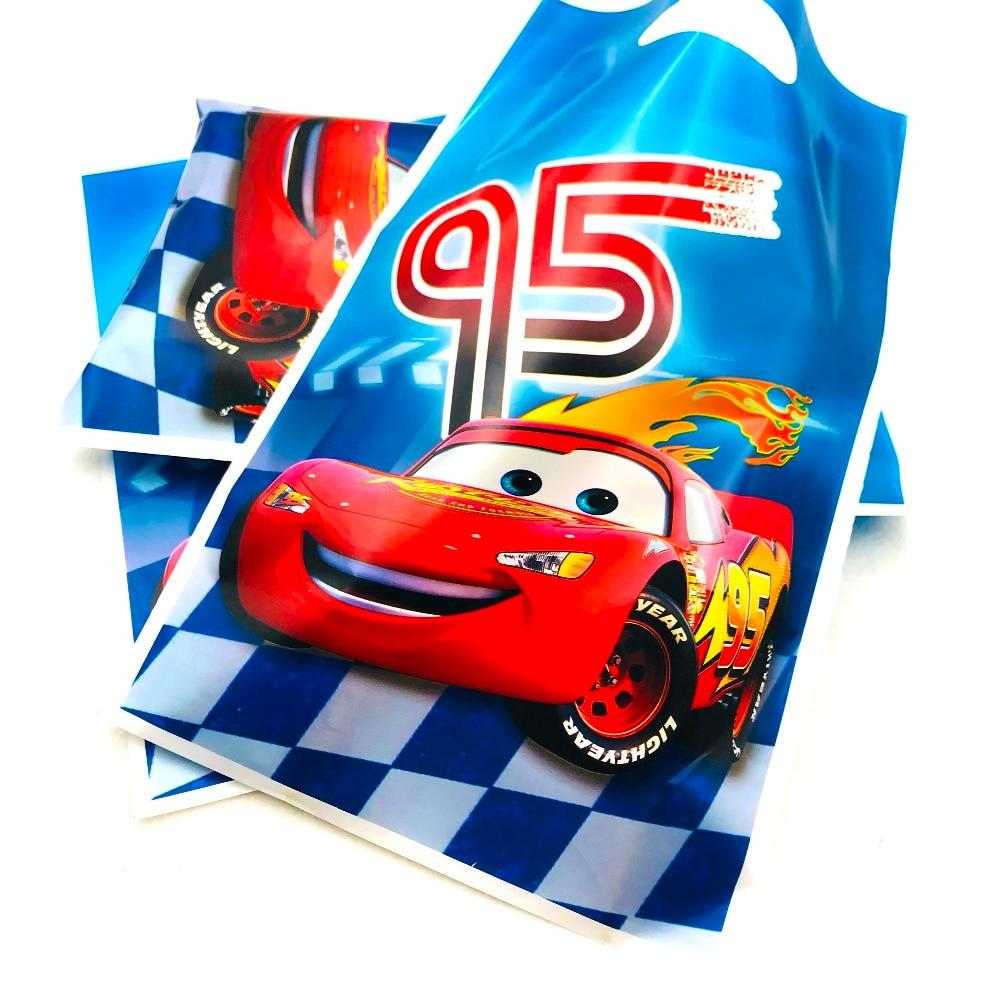 Bolsa de suministros para fiesta Lightning Mcqueen con asas bolsas de regalo de cumpleaños de boda Decoracion de fiesta 10 unids/set