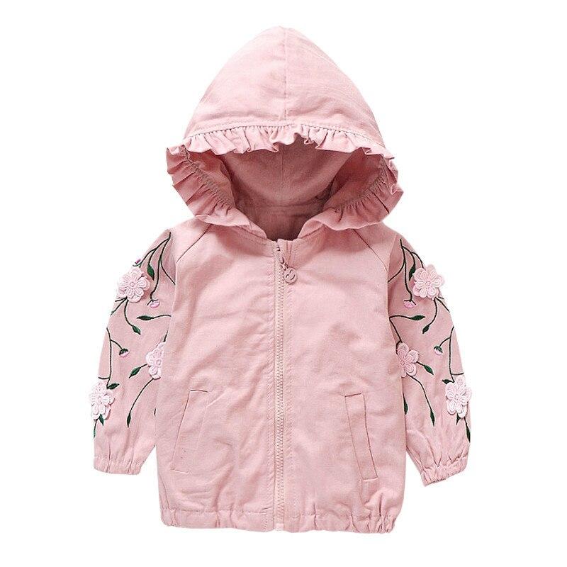 Осень 2018 г. Новая одежда для маленьких девочек детские куртки мода цветок худи с