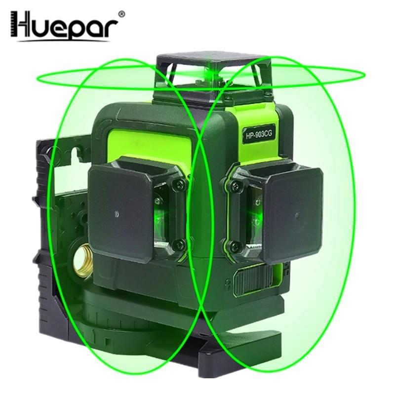 Huepar 12 Lines 3D Cross Line Laser Level Green Laser Beam Line Self-Leveling 360 Vertical & Horizontal Lasers Super Powerful