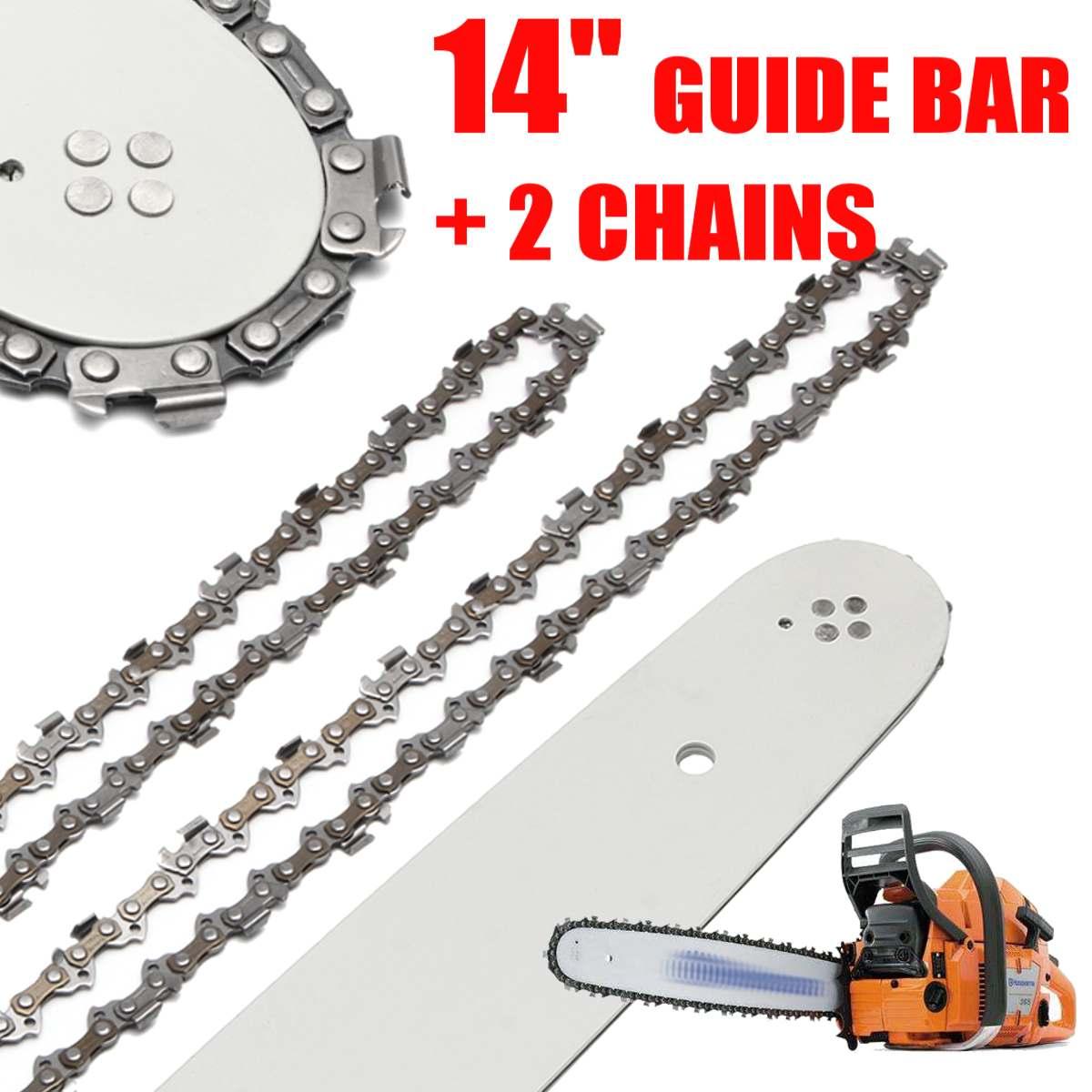 Barra de guía de sierra de cadena de 14 pulgadas con 2 cadenas de PC para STIHL 017 MS170 MS171 MS170/MS180/MS230/MS250, todo tipo de acero