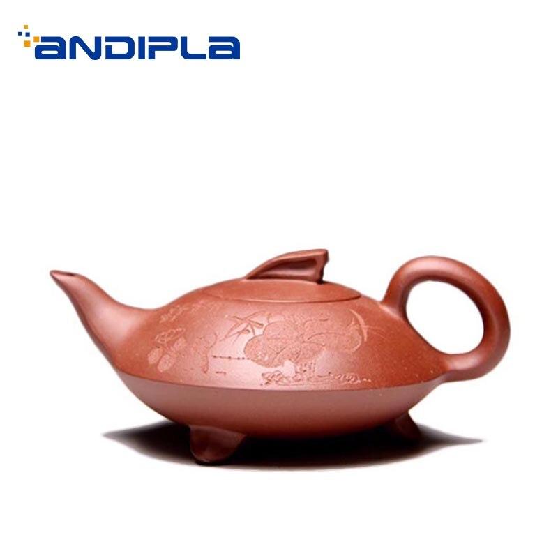 Tetera de arcilla púrpura Yixing auténtica de 240ml, juego de té de Kung Fu de oficina, barro crudo Zi, tetera Zisha creativa, regalos de teteras Tieguanyin Puer