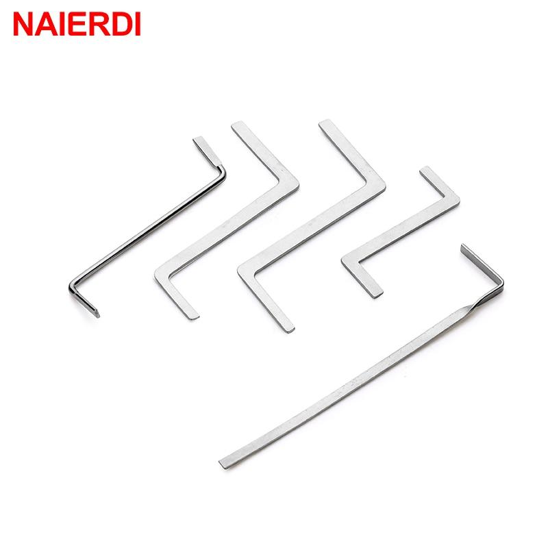 NAIERDI 5PCS Locksmith Hand Tools Supplies Broken Key Extractor Remove Removal Hooks Lock Kit Lock P