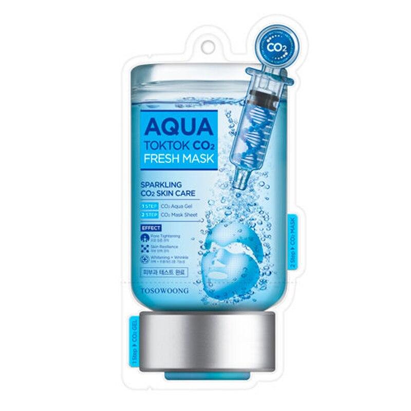 Tosowoong aqua tok tok co2 máscara 5 pçs coreia rosto maks hidratação anti rugas branqueamento esfoliante tratamento acne máscara facial
