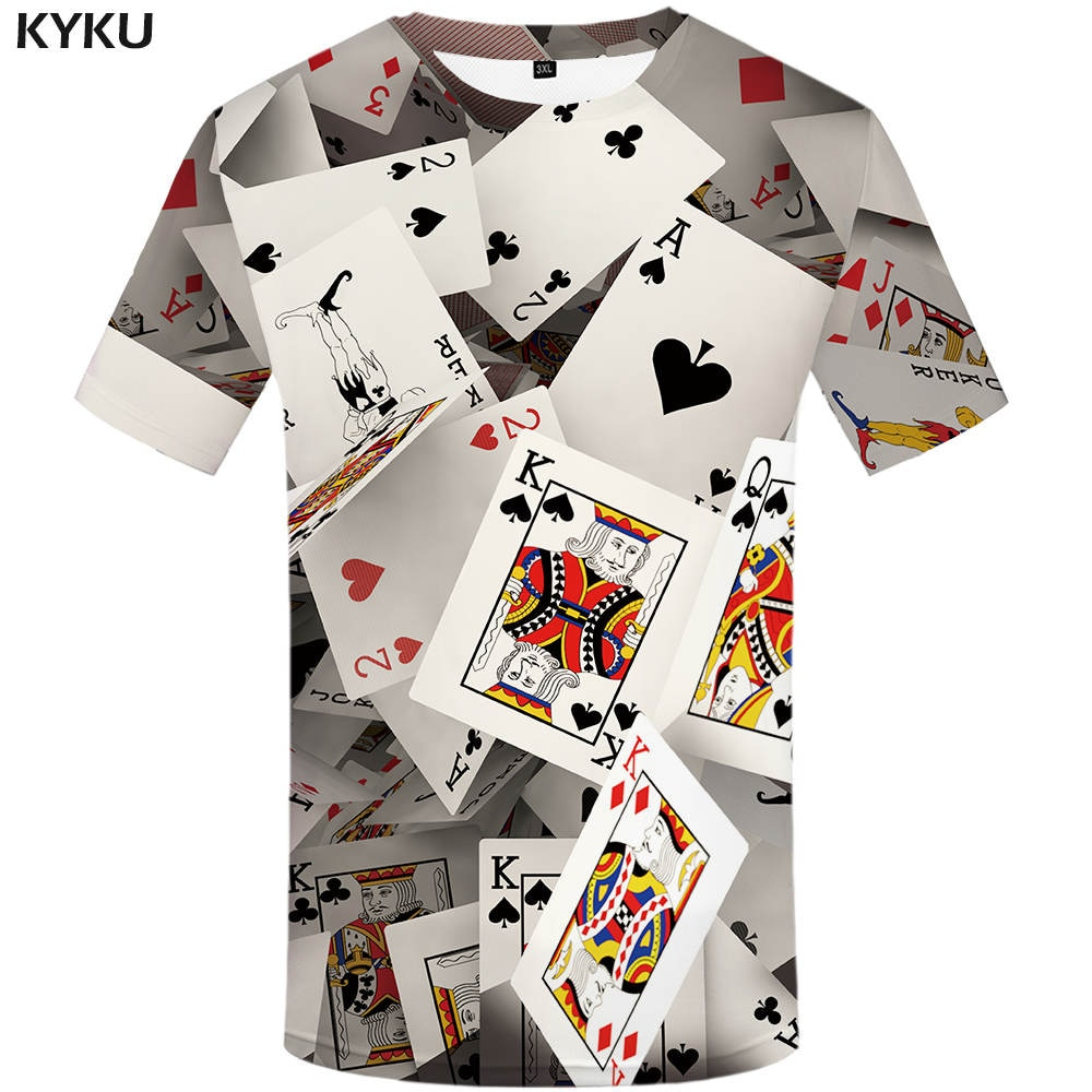 Marca kyku Poker camiseta naipes Ropa Juegos de Azar camisetas Las Vegas camiseta ropa Tops hombres divertida camiseta 3d