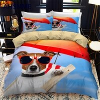 AHSNME Cute Puppy Bedding Set Pet Dog Duvet Cover + Pillowcase King Queen Size Bedclothes Customize Design