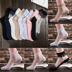 2019 Brand New Women Transparent Thin Flower Lace Socks Crystal Glass Silk Solid Short Socks