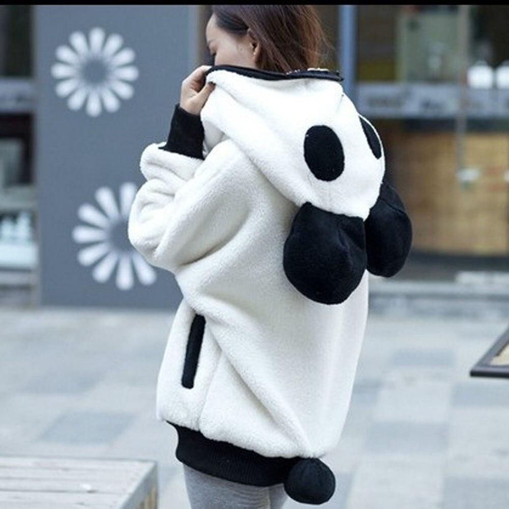 Linda oreja de oso Panda invierno cálido Sudadera con capucha mujer chaqueta con capucha ropa de abrigo Z5