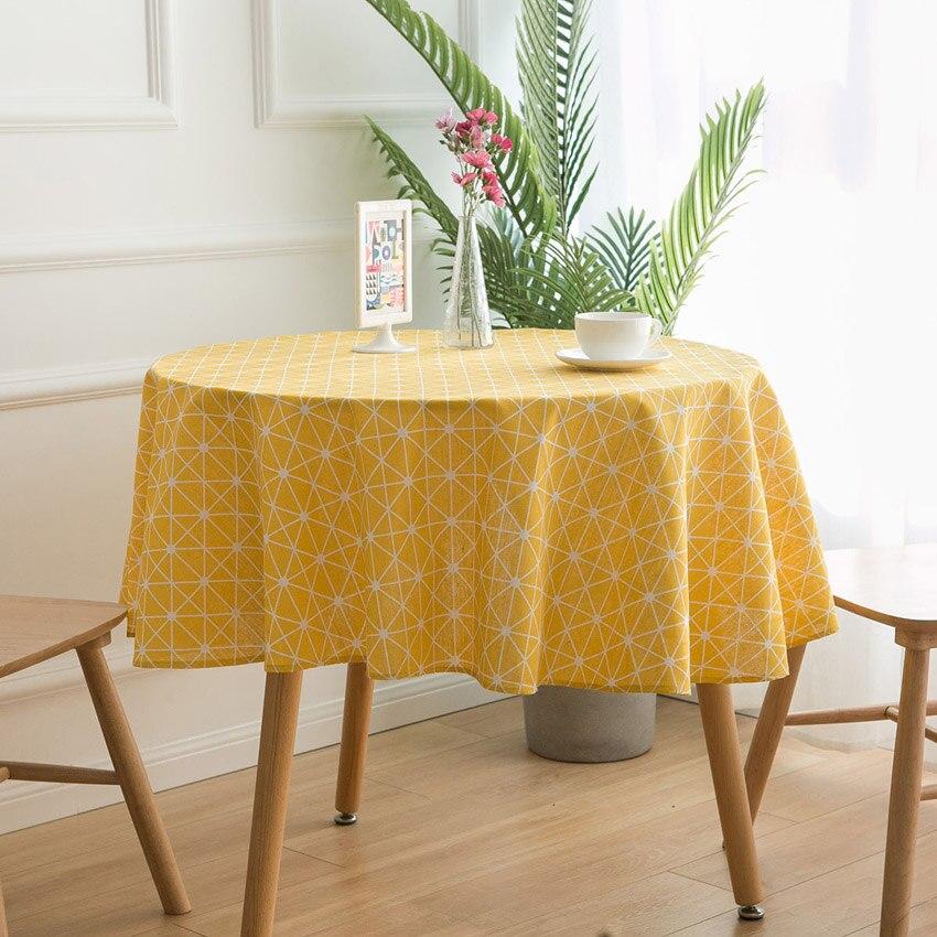 150CM ronda de la cubierta de la Mesa de algodón manteles de lino, estilo nórdico, amarillo la geometría decoración del hogar manteles para mesa redonda Tafelkleed