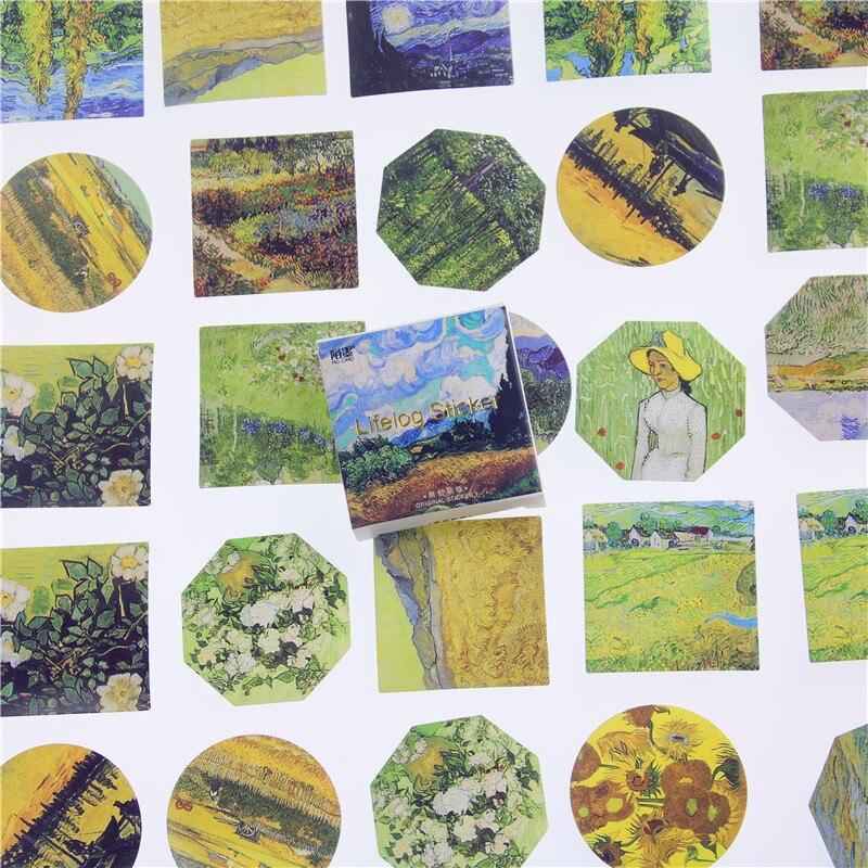 45 unids/lote Meet Van Gogh Mini pegatina de papel para decoración Diy álbum diario Scrapbooking etiqueta pegatina Kawaii papelería