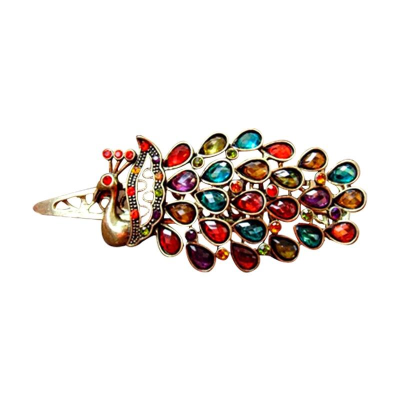 Joyería de pelo de pavo real para las mujeres accesorios para el cabello de boda horquilla colorida Clip de pelo ético exclusiva decoración de boda