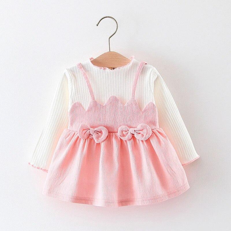 Roupas da menina do bebê vestido com arcos para crianças roupas infantis roupa infantil 6 12 18 24 meses choclate rosa da criança 1 2 anos