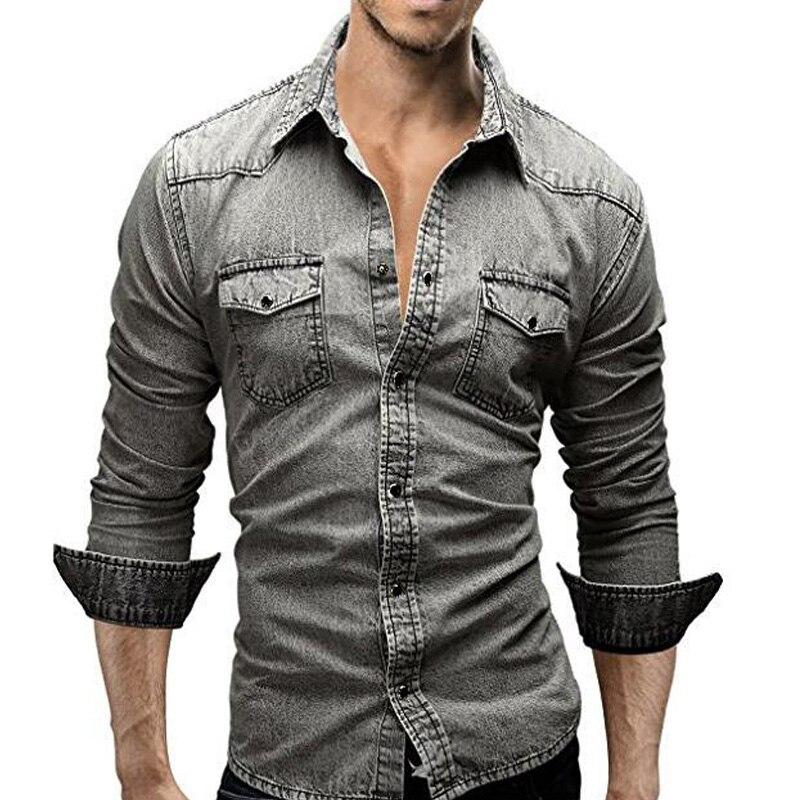 Camisa vaquera para hombre 2019 marca de manga larga Casual Retro Camiseta slim fit para hombre Color sólido lavado de talla grande hombres ropa Negro Azul M-XXXL