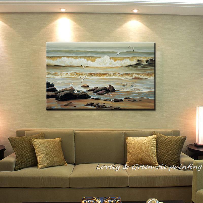 Arte de pared Haick pintado a mano, gaviota, olas del mar, decoración del hogar, paisaje abstracto, famosas pinturas al óleo sobre lienzo para sala de estar
