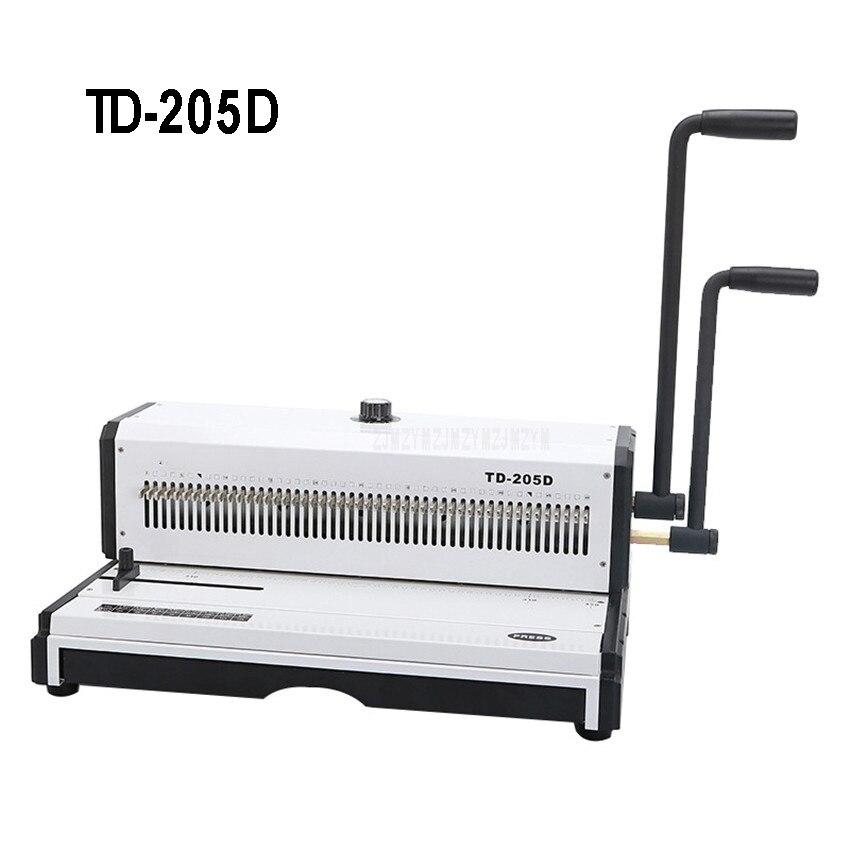 Máquina de encuadernación de alambre en espiral Manual de TD-205D de Metal 49 perforadora cuadrada álbum de fotos libro A3 máquina de encuadernación de papel