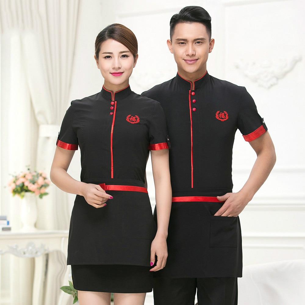 Hotel Uniform Summer Waitress Overalls Short Sleeved Overalls Fast-food Waiter Uniforms Restaurant Western Restaurant.