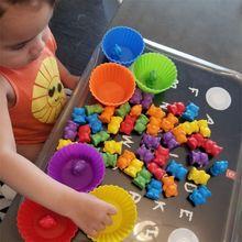 1 Juego de conteo de osos con tazas apilables-Juego de combinación de arcoíris Montessori, juguetes educativos de clasificación de Color para bebés pequeños